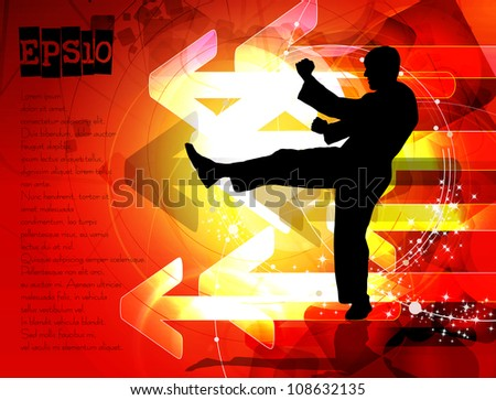 Karate poster with abstract red background - stock vector
