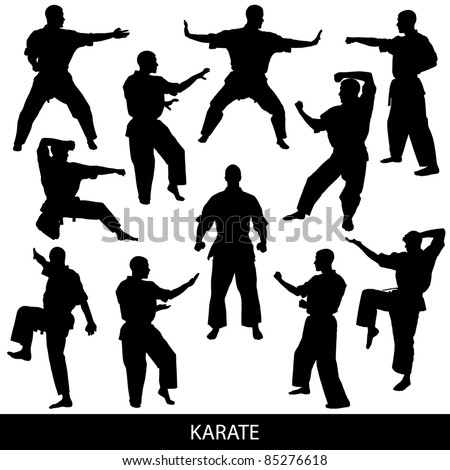 Karate silhouettes - stock vector