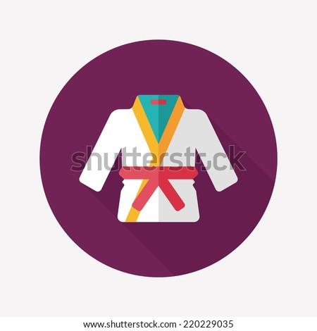 Karate suit flat icon with long shadow,eps10 - stock vector