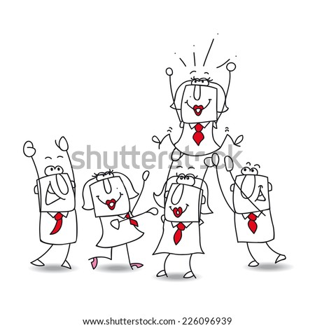 Karen is number one.. This teamwork is very happy. this year the winner is... Karen the businesswoman ! - stock vector