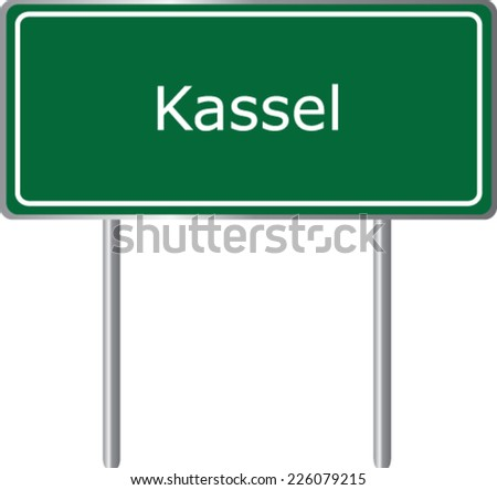 Kassel , Germany , road sign green vector illustration, road table - stock vector