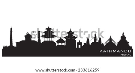 Kathmandu Nepal  skyline Detailed vector silhouette - stock vector