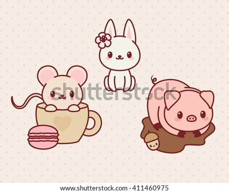 Kawaii animals set, part 1. Vector illustration of cute animals. Mouse, bunny/rabbit, pig.
