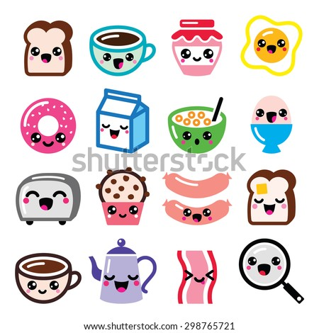 Kawaii breakfast food and beverages, cute vector icons set - toast, eggs, bacon, coffee   - stock vector