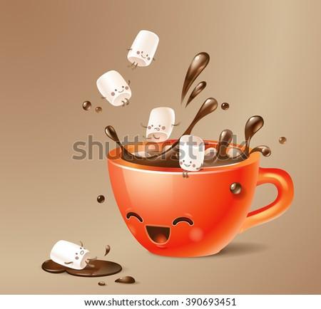 kawaii cacao cup with cute marshmallows - stock vector
