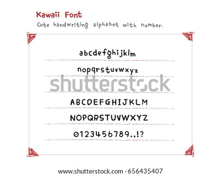 Kawaii Cute Font Handwriting Alphabet With Number