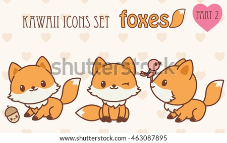 Kawaii foxes icons set. Vector illustration of cute animals. Part 2