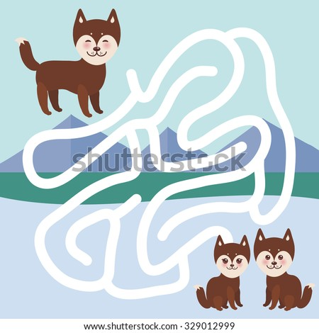 Kawaii funny brown husky dog, face with large eyes and pink cheeks, boy and girl, mountain landscape background.  labyrinth game for Preschool Children. Vector - stock vector