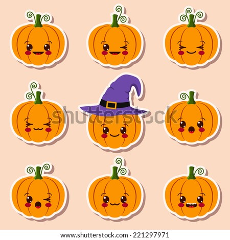 kawaii halloween pumpkins - stock vector
