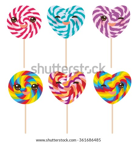 Kawaii Heart shaped candy lollipop with pink cheeks and winking eyes, colorful spiral candy cane. Candy on stick with twisted design on white background. Vector - stock vector