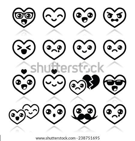 Kawaii hearts, Valentine's Day cute vector icons - stock vector