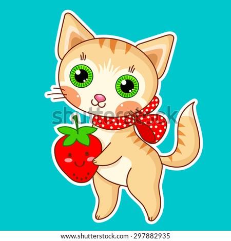Kawaii kitten - stock vector