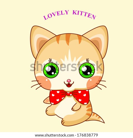 Kawaii kitty with a red bow - stock vector