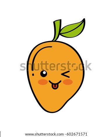 kawaii mango fruit icon over white background. colorful design. vector illustration