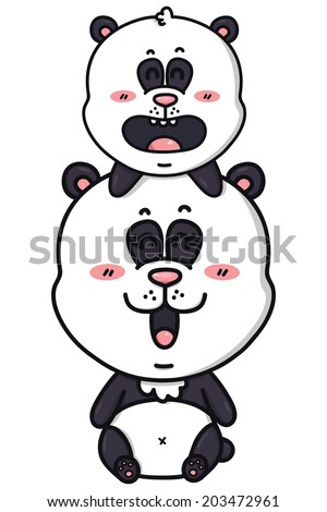 kawaii pandas. Vector illustration of happy cartoon mom and baby of panda  - stock vector