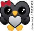 Kawaii Penguin Girl | Cute heart shaped penguin girl with red bow and yellow beak and kawaii googly eyes. - stock vector