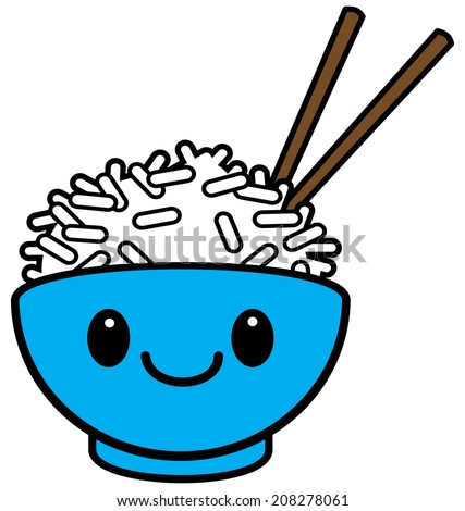 Kawaii Rice Bowl - stock vector