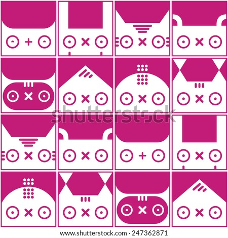 Kawaii seamless vector background with cute animals