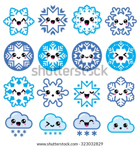 Kawaii snowflakes, clouds with snow - Christmas, winter icons set  - stock vector