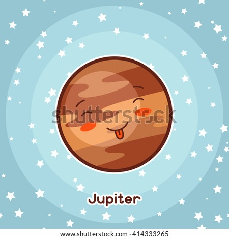 Kawaii space card. Doodle with pretty facial expression. Illustration of cartoon jupiter in starry sky. - stock vector