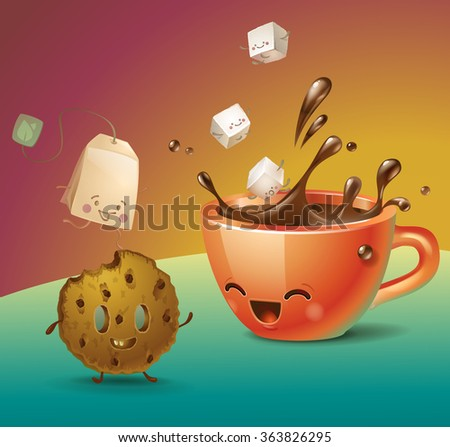 Kawaii tea or coffee cup with sugar cubes cookie and teabag. Vector Illustration. - stock vector