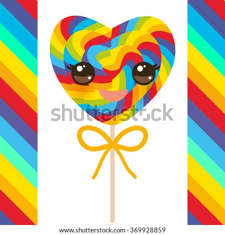 Kawaii Valentine's Day Heart shaped candy lollipops with bow, colorful spiral candy cane with bright rainbow stripes. on stick with twisted design on white background with rainbow stripes. Vector - stock vector