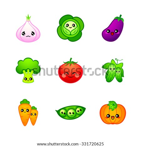 Kawaii vegetables icons or stickers with emotions - stock vector