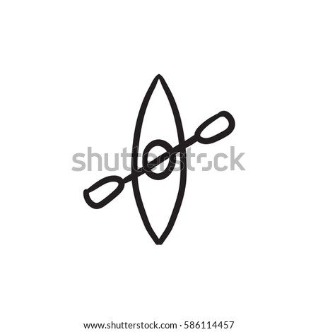 Kayak Paddle Vector Sketch Icon Isolated Stock 586114457
