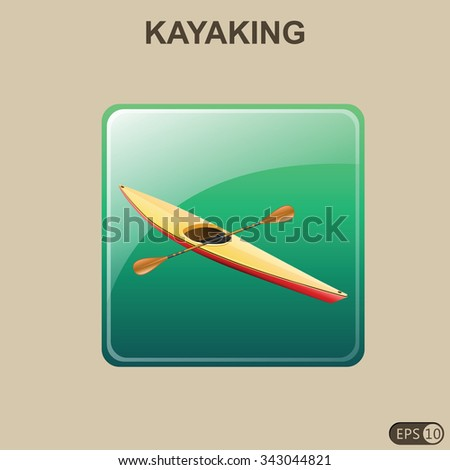 Kayaking Icon - Vector Illustration - stock vector