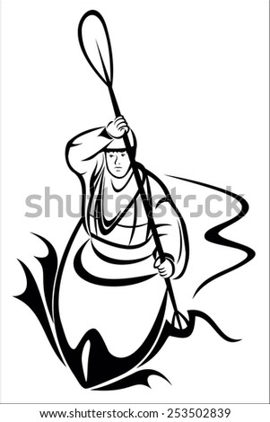 Kayaking man - stock vector