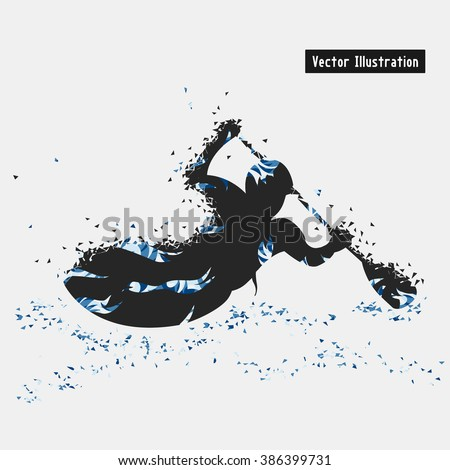 Kayaking. Vector eps10 illustration. Particle divergent composition - stock vector