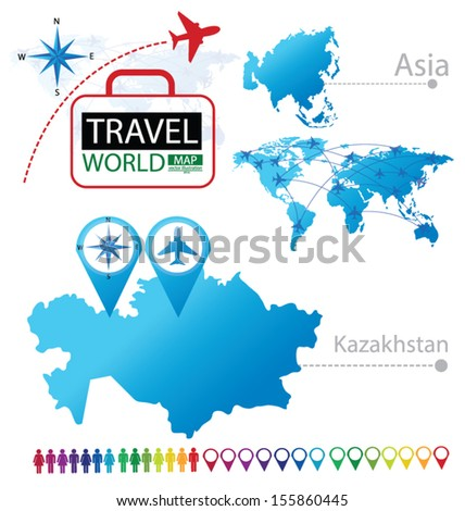 Kazakhstan. Asia. World Map. Travel vector Illustration. - stock vector