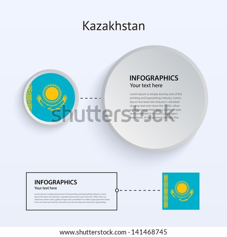 Kazakhstan Country Set of Banners on gray background for Infographic and Presentation. Vector illustration. - stock vector