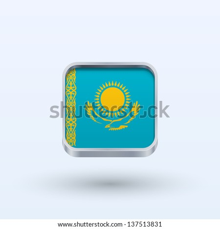 Kazakhstan flag icon square form on gray background. Vector illustration. - stock vector