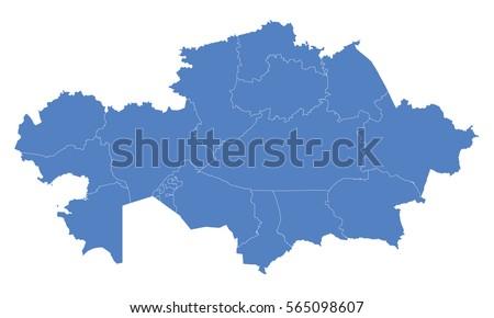 Kazakhstan Map Blue Color Stock Vector Shutterstock - Kazakhstan map