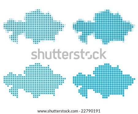Kazakhstan map mosaic set. Isolated on white background. - stock vector