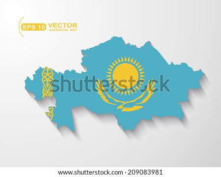 Kazakhstan map with shadow effect  - stock vector
