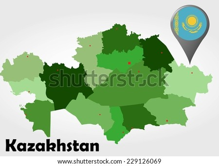 Kazakhstan political map with green shades and map pointer. - stock vector