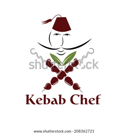 kebab chef illustration - stock vector