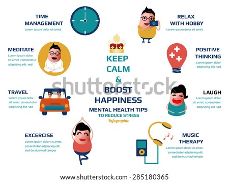 keep calm and boost happiness, mental health tips to reduce stress infographic, vector illustration. - stock vector