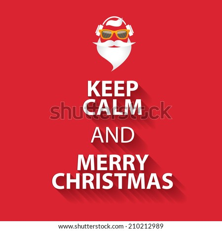 keep calm and merry christmas design poster template on red background - stock vector