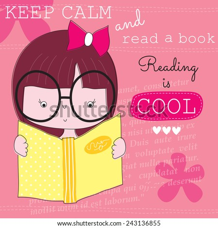 keep calm and read a book vector illustration - stock vector