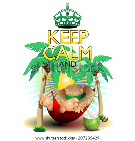 Keep Calm and...Relax on Hammock! - stock vector