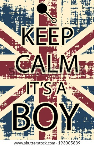 keep calm it's a boy, illustration vector format