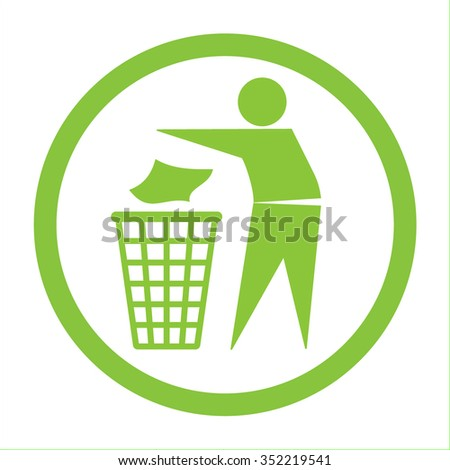 Keep clean icon. Do not litter sign. Silhouette of a man in the green circle, throwing garbage in a bin, isolated on white background. No littering symbol. Public Information Icon. Vector illustration - stock vector