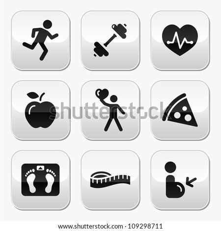 Keep fit and healthy icons on glossy buttons - stock vector