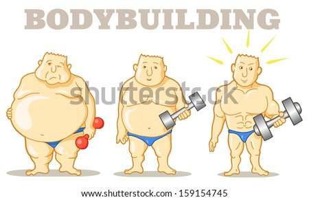 Keep Fit Vector Illustration: Funny Man Before and after Weight Loss Program and Training. Funny Cartoon Characters Isolated. Let burn calories! - stock vector
