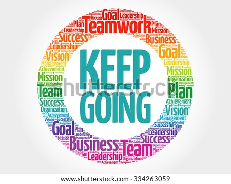 Keep Going circle stamp word cloud, business concept - stock vector