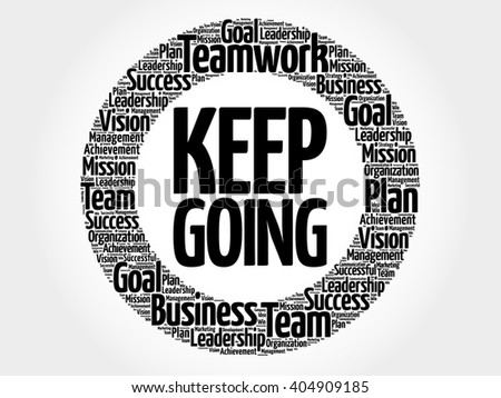 Keep Going circle word cloud, business concept - stock vector