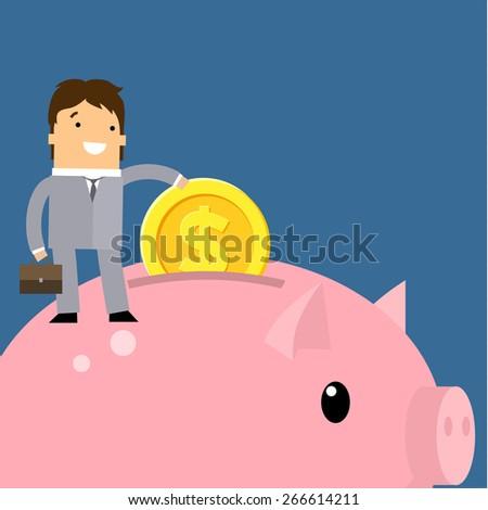 Keep money concept. Business man collecting money into piggy bank. Flat vector illustration. - stock vector